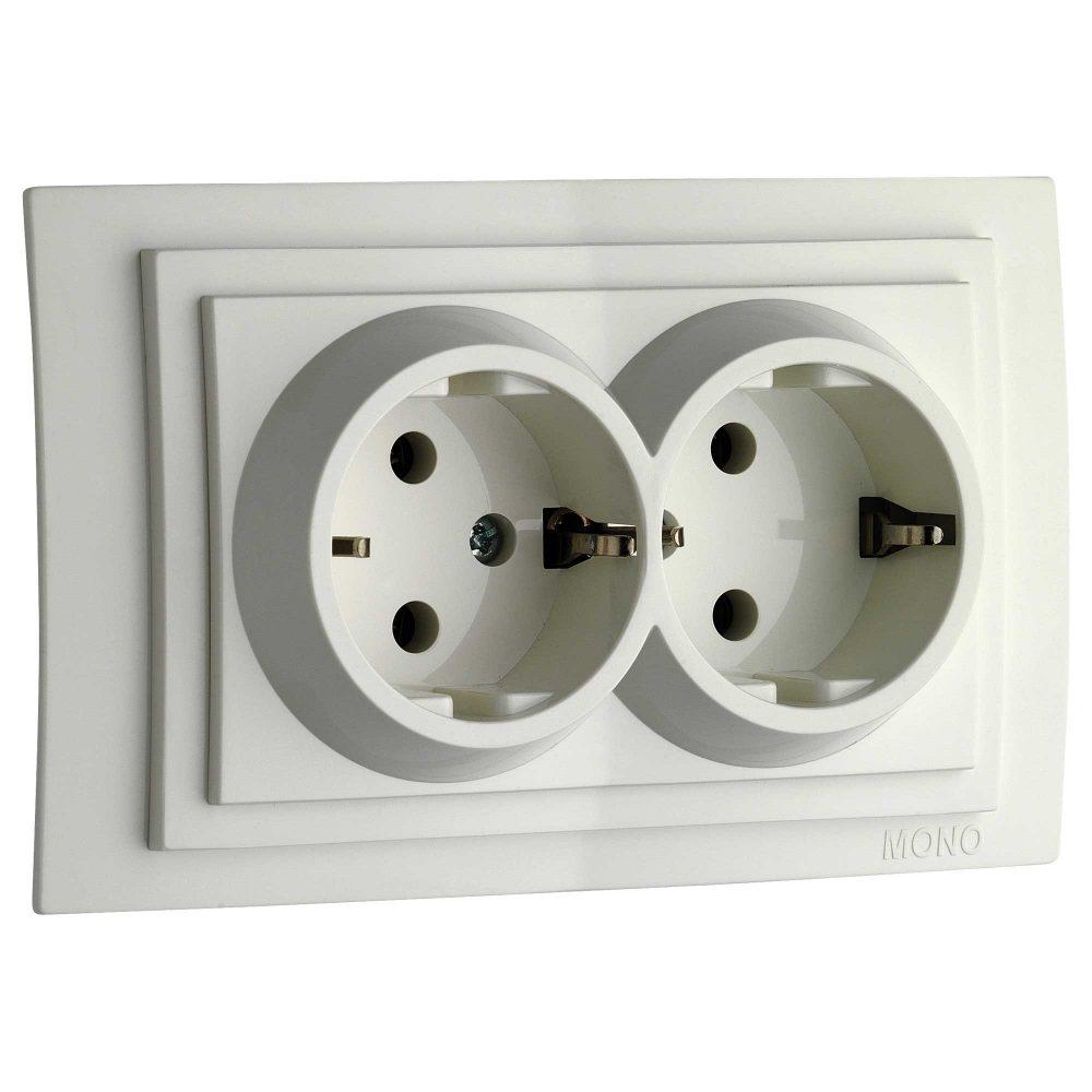 Priza dubla cu CP Mono Electric, LARISSA, ingropat/ST, alb