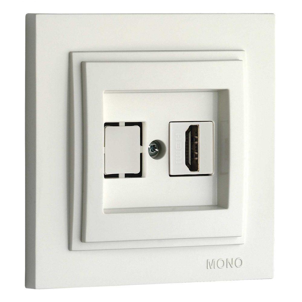 Priza HDMI Mono Electric, LARISSA, ingropat/ST, alb