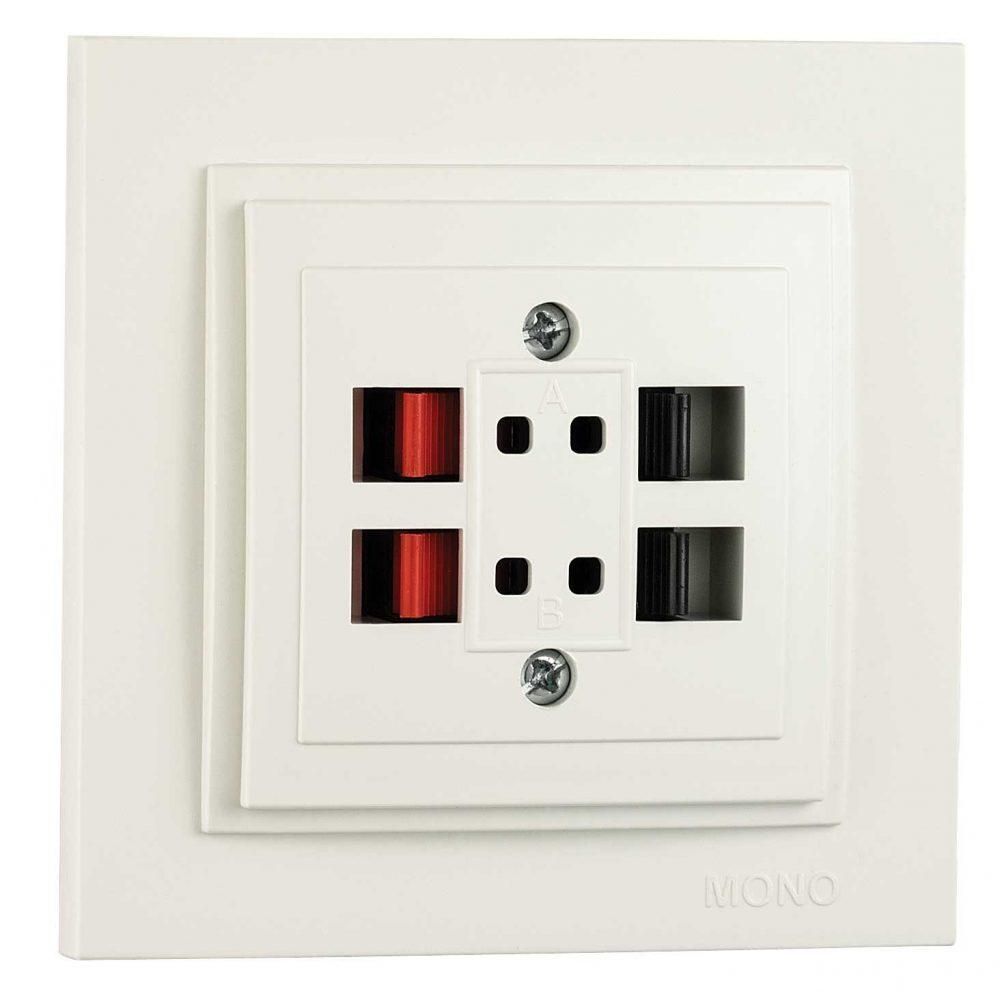 Priza HI FI Mono Electric, LARISSA, doua circuite, ingropat/ST, alb