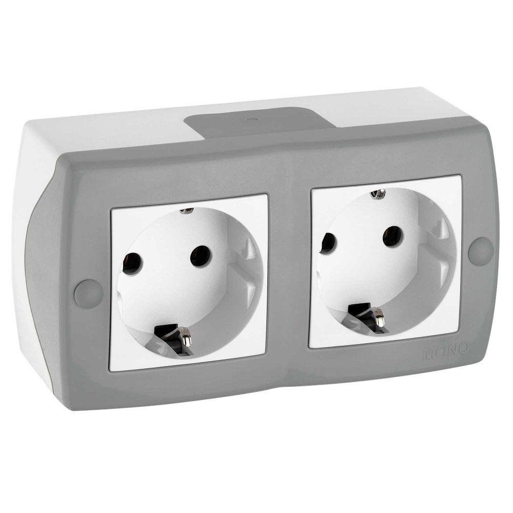Priza dubla Mono Electric, OCTANS, aparent/PT, gri