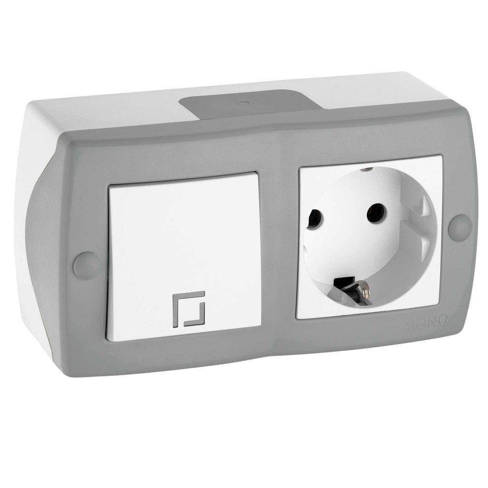 Ansamblu intrerupator simplu si priza simpla cu CP si capac Mono Electric, OCTANS, aparent/PT, gri