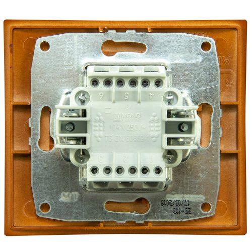 Intrerupator dublu cu LED Mono Electric, LARISSA, ingropat/ST, cires