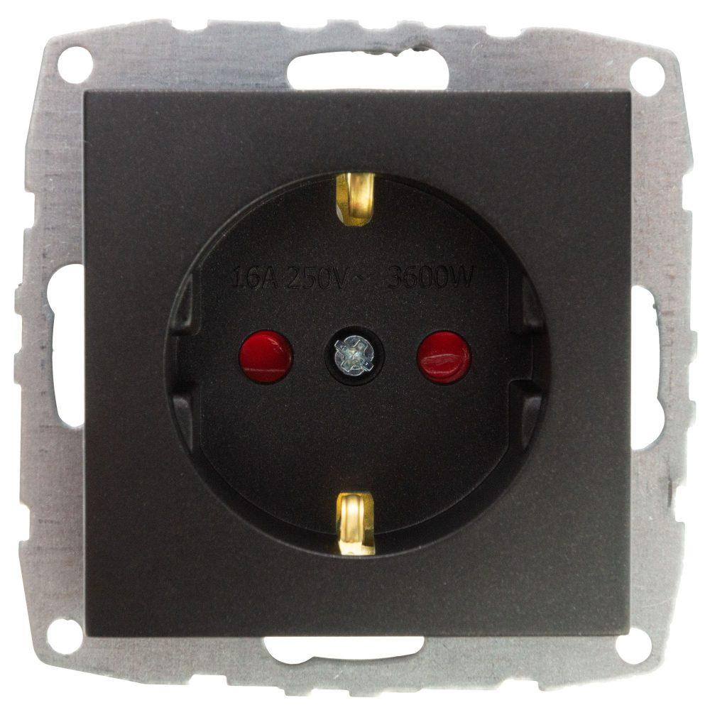 Mecanism Priza cu CP si protectie copii Mono Electric, ingropat/ST, FUME