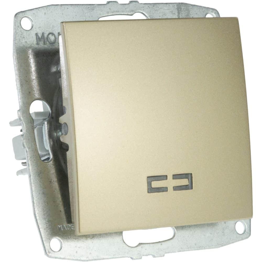Mecanism Intrerupator simplu cu LED Mono Electric, ingropat/ST, TITANIUM