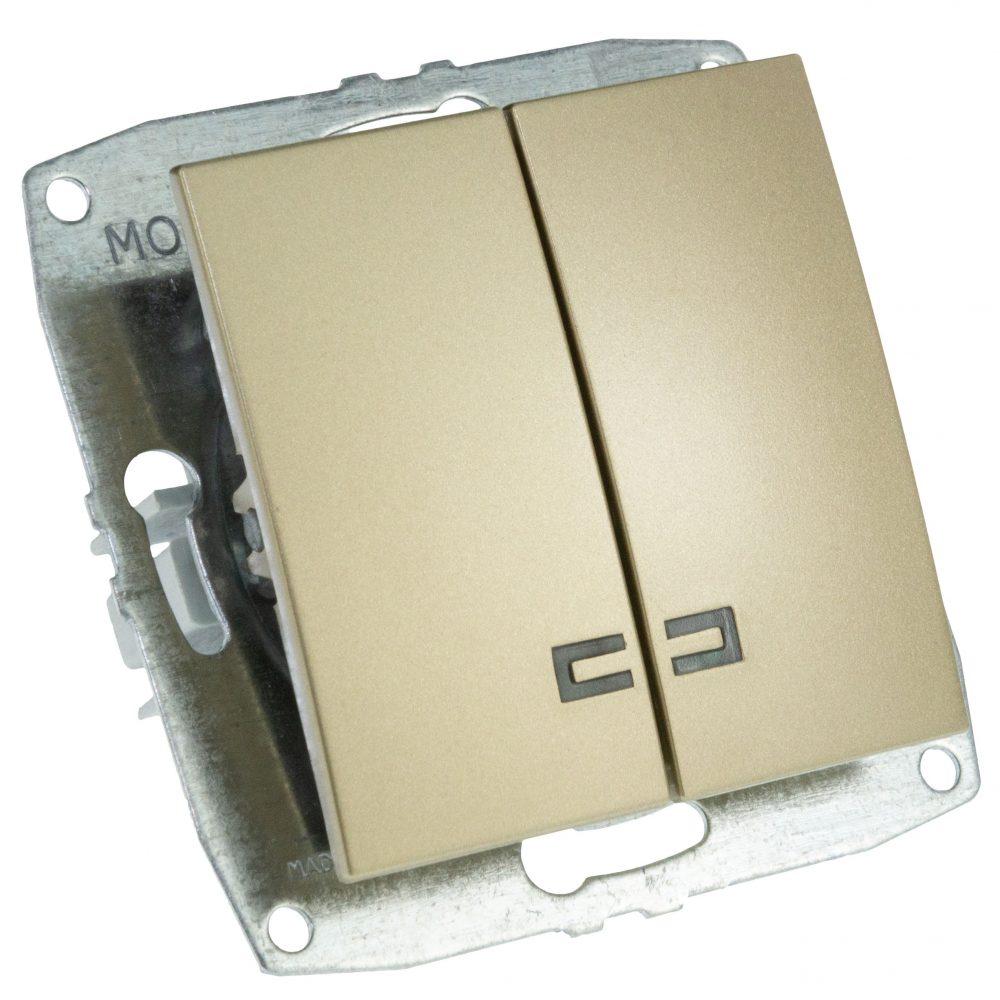 Mecanism Intrerupator dublu cu LED Mono Electric, ingropat/ST, TITANIUM