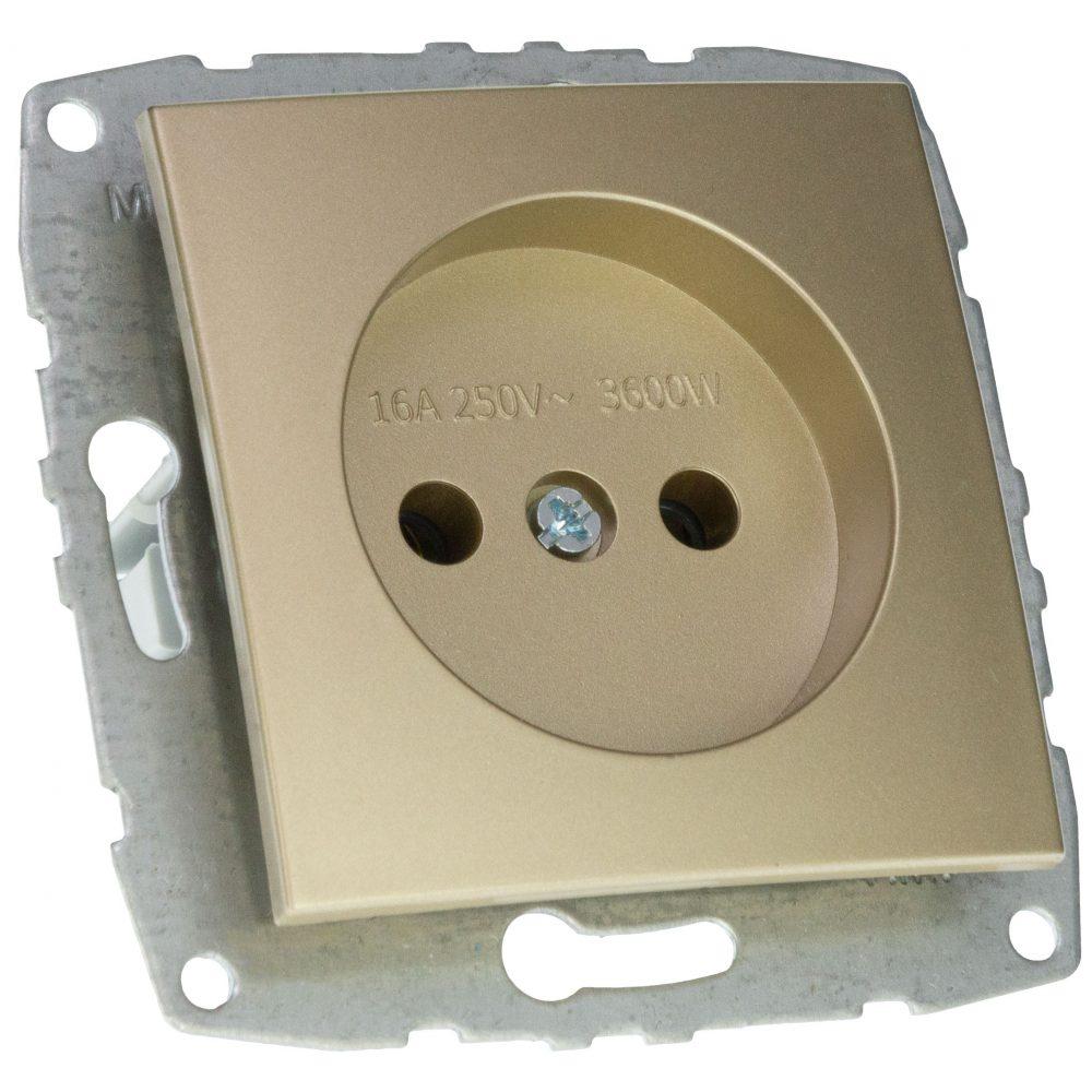 Mecanism Priza cu CP fara protectie copii Mono Electric, ingropat/ST, TITANIUM