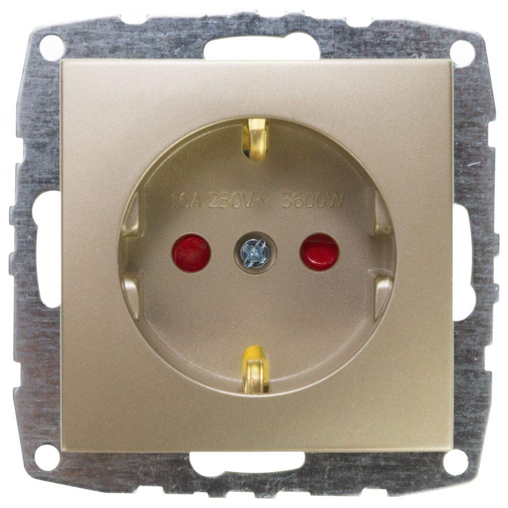 Mecanism Priza cu CP si protectie copii Mono Electric, ingropat/ST, TITANIUM