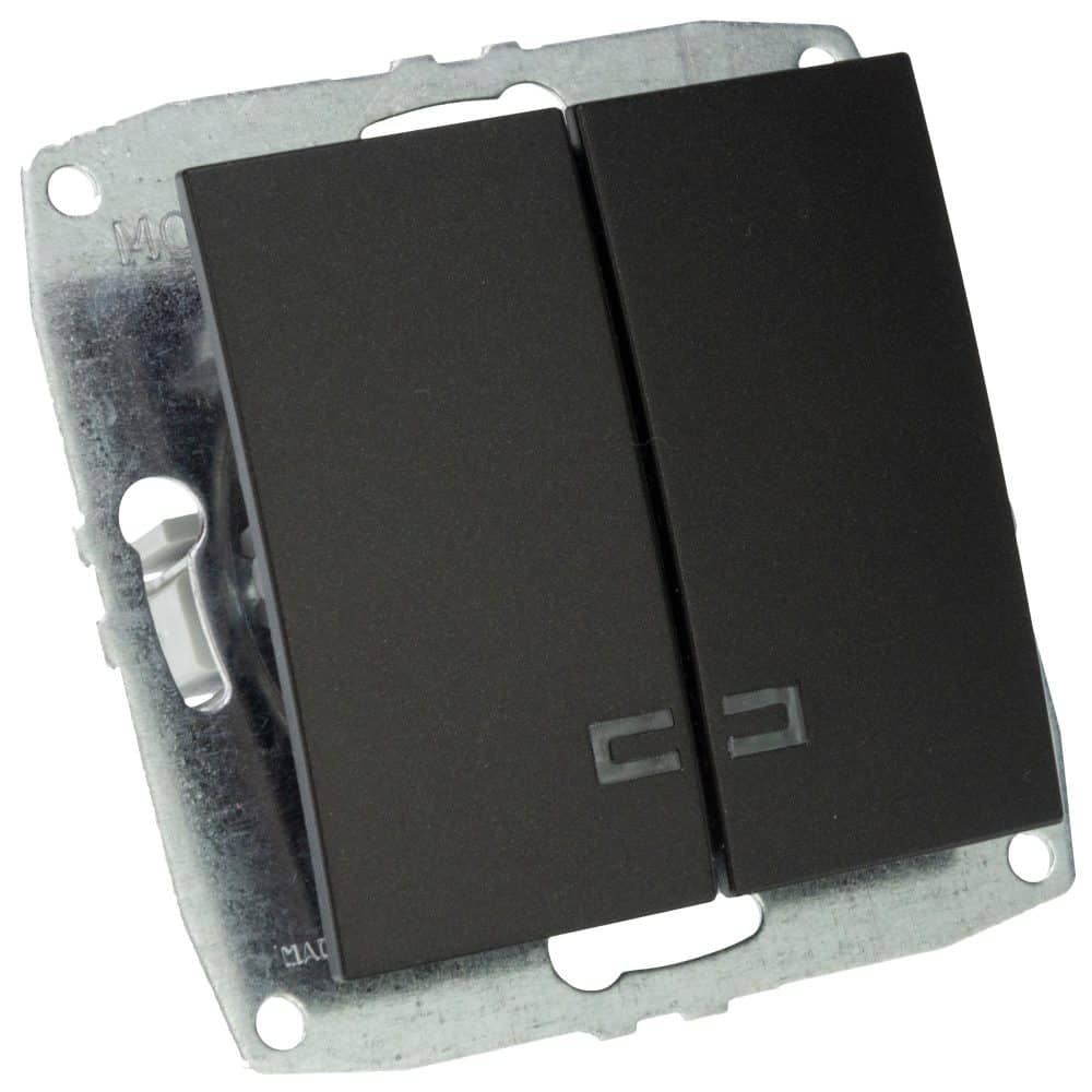 Mecanism Intrerupator dublu cu LED Mono Electric, ingropat/ST, FUME