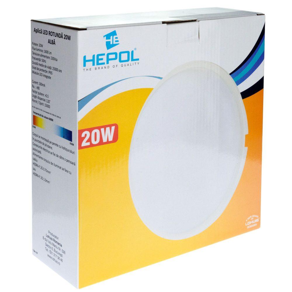 Aplica LED rotunda HEPOL, aparent/PT, 20W, lumina rece