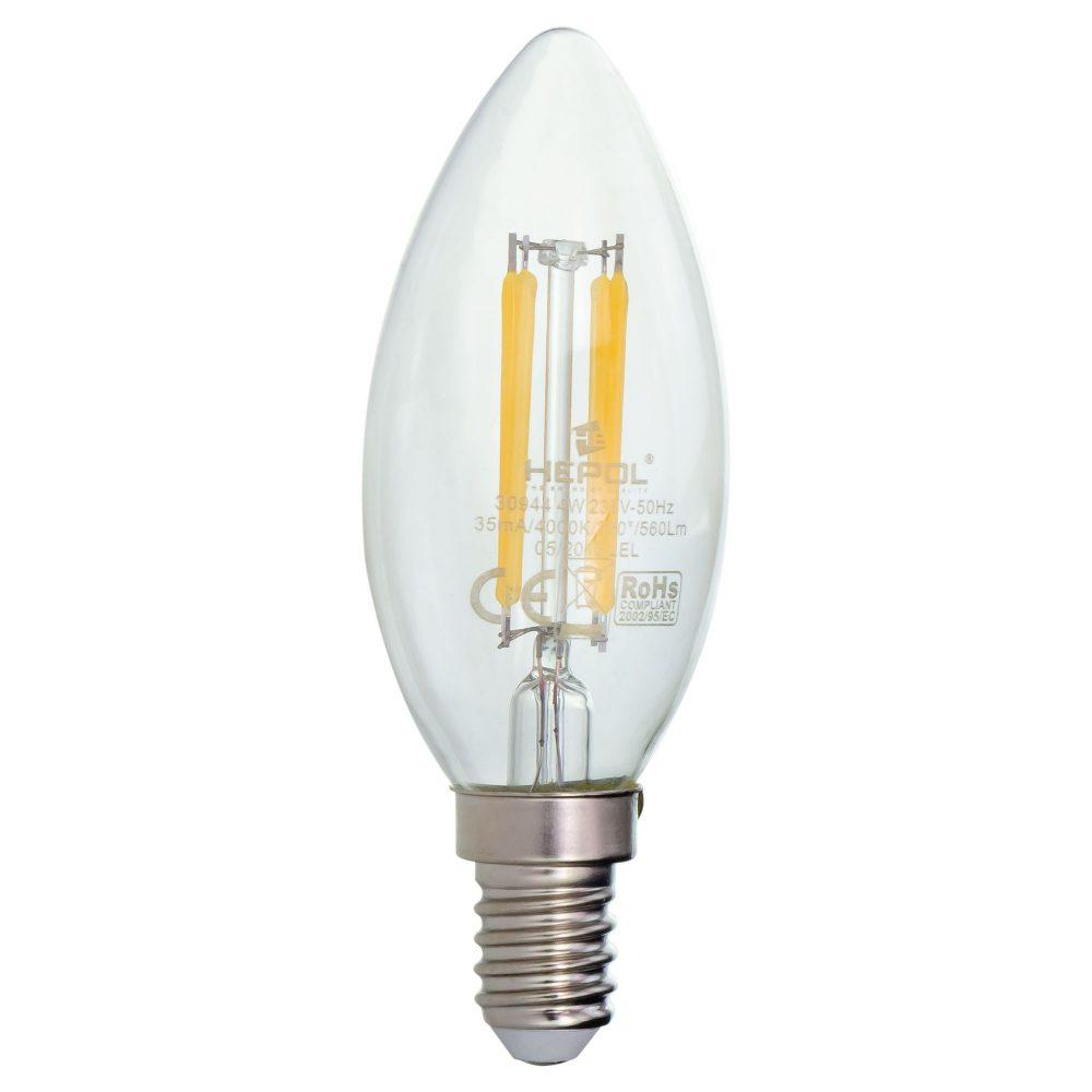 Bec LED filament LOHUIS, forma lumanare, CLAR, E14, 4W, 25000 ore, lumina neutrala