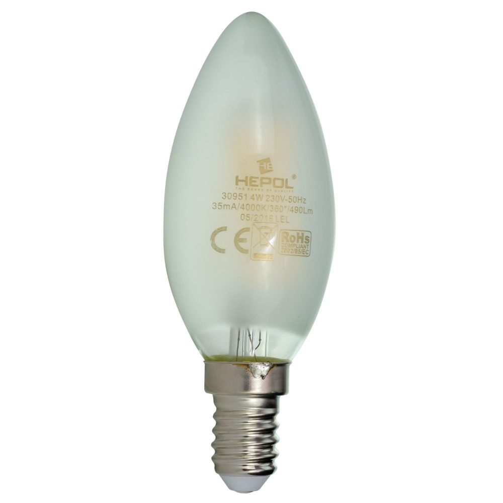 Bec LED filament LOHUIS, forma lumanare, MAT, E14, 4W, 25000 ore, lumina neutrala