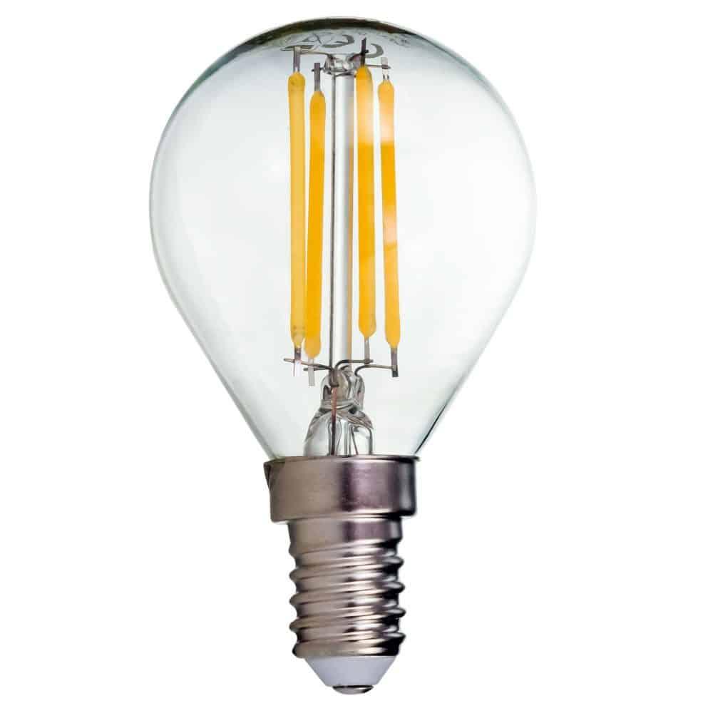 Bec LED filament LOHUIS, forma sferica, CLAR, E14, 4W, 25000 ore, lumina neutrala