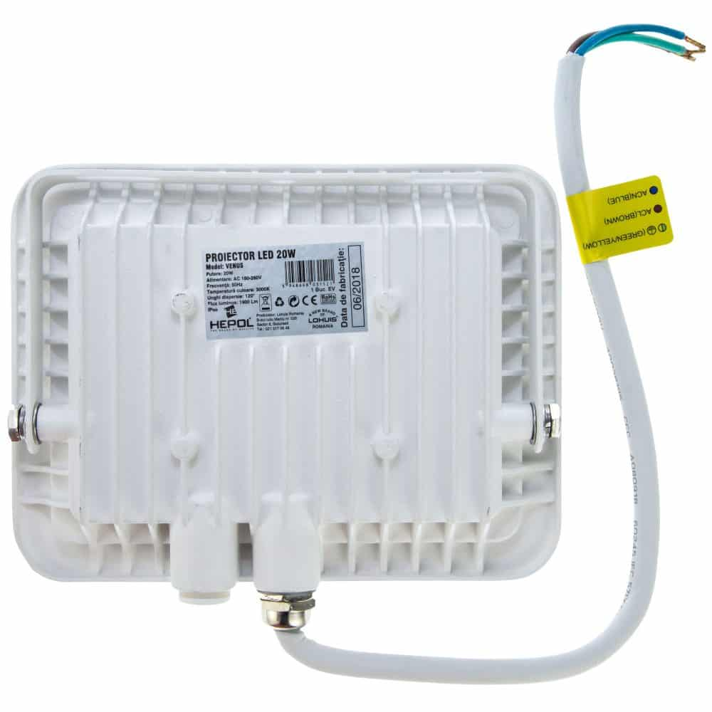 Proiector LED HEPOL, VENUS, IP65, 20W, alb, lumina calda