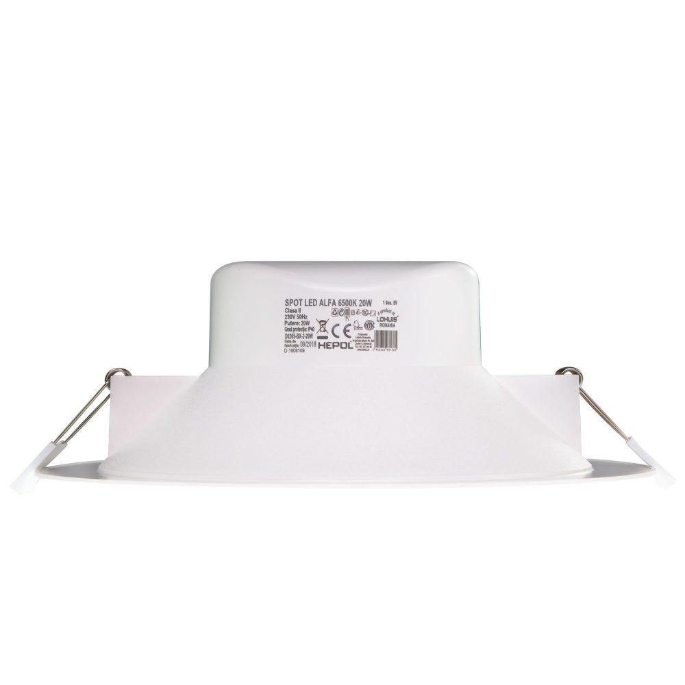 Spot LED rotund HEPOL, ALFA, incastrat/ST, 20W, lumina rece