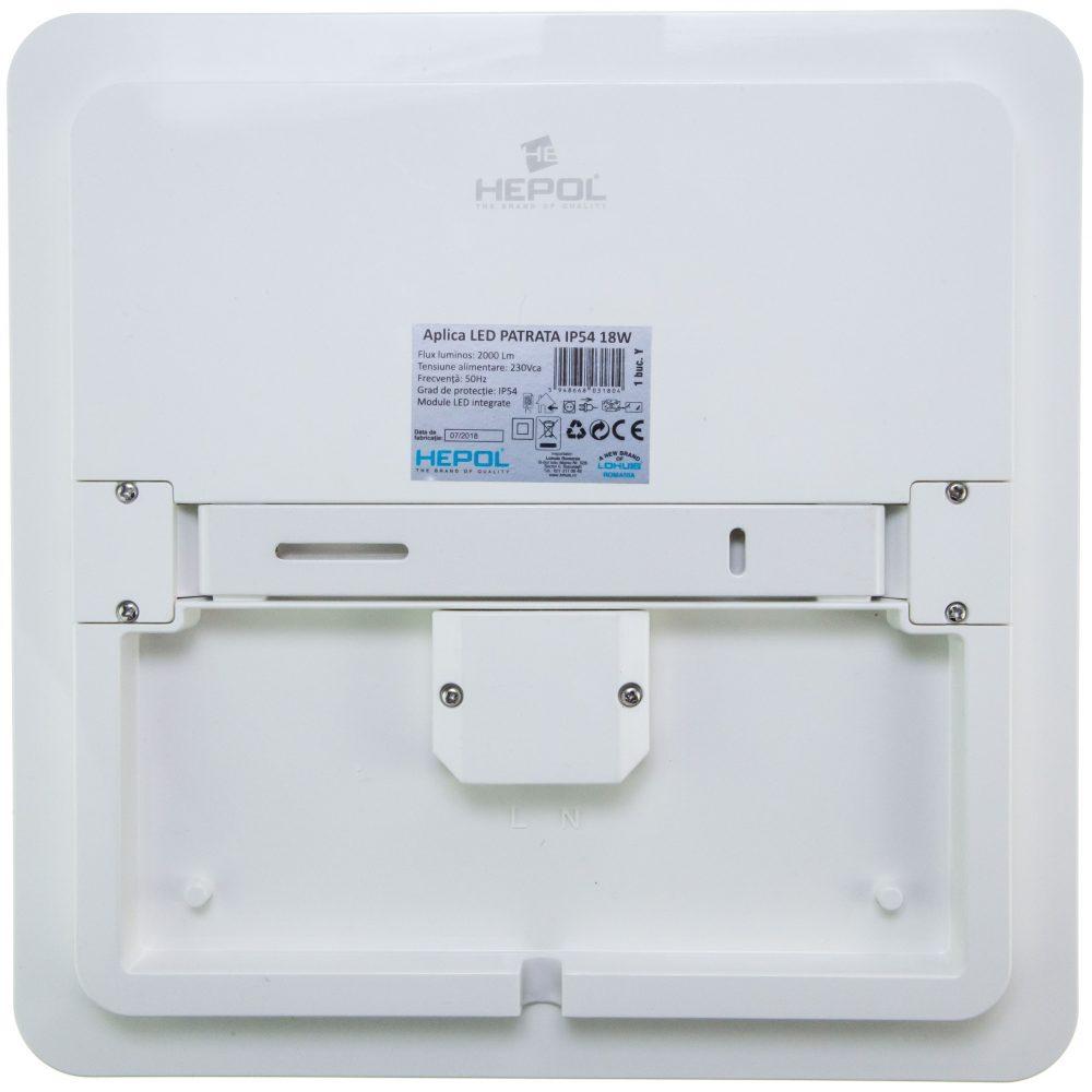 Aplica LED patrat HEPOL, aparent/PT, 18W, IP54, lumina rece