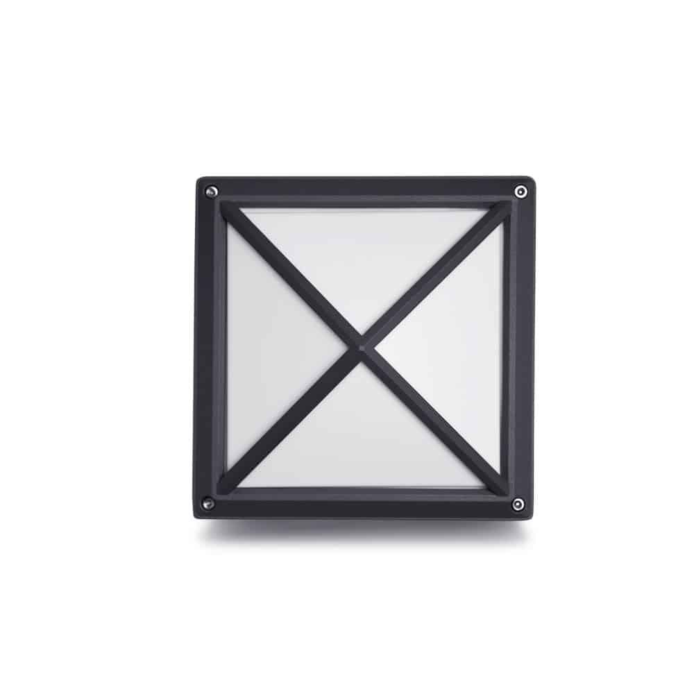 Aplică antracit perete pătrată IP54, 1xE27, 215x215mm, HEPOL
